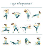 Spine, neck and muscle pain exercises. Vector yoga Stock Photography
