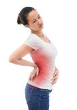 Spine osteoporosis. Scoliosis. Spinal cord problems on woman's b Stock Image