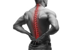 Spine pain, man with backache and ache in the neck, black and white photo with red backbone Stock Image