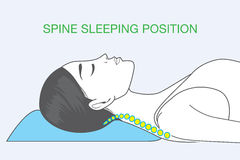 Spine sleeping position. Shape of human spine in sleeping which affect back health Stock Photos