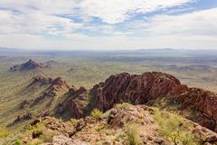 Spine of the Vulture Mountanis. The view south from the summit of Vulture Peak, near Wickenburg, Arizona Royalty Free Stock Image