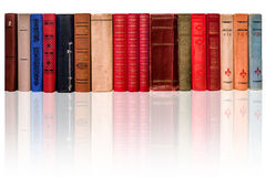 Spines of old books on a white background.  Royalty Free Stock Photography