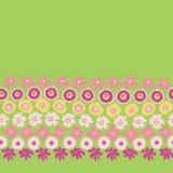Sping blommar den sömlösa vektorrepetitiongränsen För utdragen blom- gul rosa gräsplan gränskorall för hand Skandinavisk ditsy kl stock illustrationer