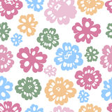 Sping flowers seamless pattern. Seamless pattern in pastel tones with stylized  multicoloured flowers. Vector illustration Stock Photo