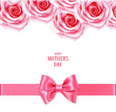 Sping holiday template with pink roses and bow with horizontal ribbon. Happy Mother`s day text. Floral background Stock Photography