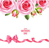 Sping holiday template with pink roses and bow with horizontal ribbon. Happy Mother`s day text. Floral background Stock Image
