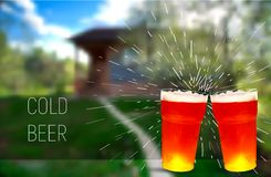 Sping. House. frosty glass of beer, vector illustration Royalty Free Stock Photos