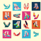 Sping and Summer Shoes Icon Set - Illustration Royalty Free Stock Photography