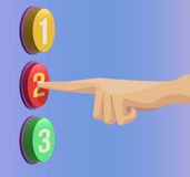 Spinga il dito sull'APPROVAZIONE del bottone Immagini Stock