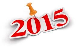 Spinga il Pin e 2015 (percorso di ritaglio incluso) Fotografia Stock