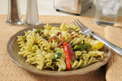 Spinich Basil Pesto Cavatappi Salad Stock Photos