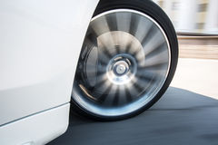 Spining car wheel Stock Photo