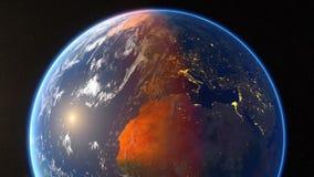 Spining-Erde und summt herein laut stock abbildung