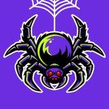 Spinmascotte het Hangen op de Spinnewebillustratie royalty-vrije illustratie