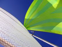 Spinnaker, Main Sail and Blue Sky. The colorful green and yellow spinnaker contrasts starkly with the white main sail and the deep blue sky Stock Images