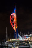Spinnaker Tower by night A. ENGLAND, PORTSMOUTH - 18 OCT 2015: Spinnaker Tower by night A royalty free stock photos