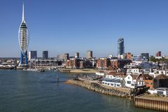 Portsmouth - United Kingdom. Spinnaker Tower and the port of Portsmouth on the south coast of England royalty free stock photography