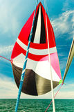 Spinnaker with uphaul, blue sky in background. Spinnaker with uphaul on sail boat, blue sky in background. Marine sailing objects concept Stock Photography