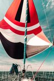 Spinnaker with uphaul, blue sky in background. Spinnaker with uphaul on sail boat, blue sky in background. Marine sailing objects concept Royalty Free Stock Photo