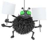 Spinne 3d, die zwei Plakate hält Lizenzfreies Stockbild