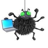 Spinne 3d hat einen Laptop Lizenzfreie Stockfotografie