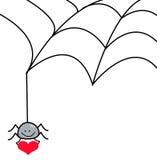 Spinne, die vom Spinnennetz hält ein Herz hängt Stockbilder