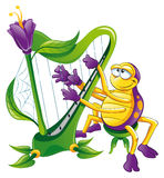 Spinne mit Harfe Stockfoto
