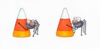 Spinne mit Süßigkeit-Mais Lizenzfreies Stockbild