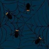 Spinnen auf Netz Nahtloses Muster Stockbilder