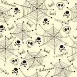 Spinnen auf Netzmuster auf weißem Hintergrund Lizenzfreie Stockfotografie