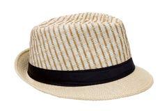 Spinnen Sie den Hut, der auf weißem Hintergrund, hübsches Strohhutisolat lokalisiert wird Lizenzfreie Stockfotografie