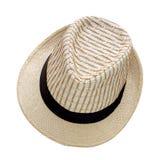 Spinnen Sie den Hut, der auf weißem Hintergrund, hübsches Strohhutisolat lokalisiert wird Stockfoto