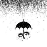 Spinnen unter dem Regenschirm lizenzfreie abbildung