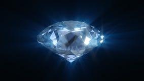 Spinnende blauwe glanzende diamant stock illustratie