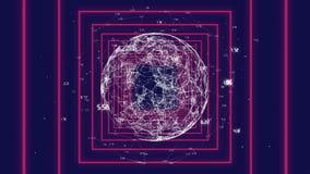 Spinnende digitale Kugel im rosa Quadrat vektor abbildung
