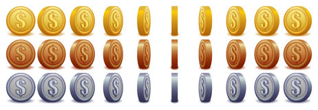 Spinnende Dollarmuntstukken Stock Foto