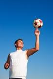 Spinnende Fußball-Kugel Stockfoto
