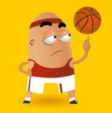 Spinnende Kugel des Basketballs auf Finger Lizenzfreie Stockbilder