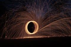 Spinnende Stahlwollephotographie Lizenzfreie Stockbilder