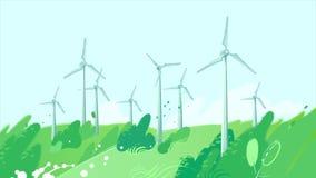 Spinnende Windkraftanlagen auf dem Gebiet vektor abbildung