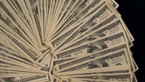 Spinnender Hintergrund von aufgelockert 100 USD-Rechnungen stock footage