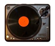 Spinnender Rekordvinylspieler mit orange Vinylaufzeichnung stockbild