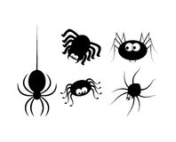 Spinnenhalloween-Ikone, Symbol Schattenbildsatz Vektorabbildung auf weißem Hintergrund Stockfotografie