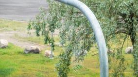 Spinnennetz mit Regentropfen stockbild