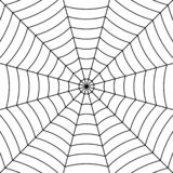 Spinnennetzhintergrund mit schwarzer verwobener Fadenspinne, Muster-Spinnennetz des Vektors symmetrisches für Halloween vektor abbildung