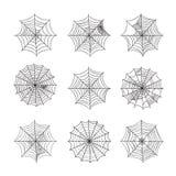 Spinnennetzsatz lokalisiert auf weißem Hintergrund Stockbild