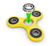 Spinner ball bearing. Spinner yellow and ball bearing. 3d rendering Stock Photos