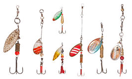 Spinner lures. Isolated on white Royalty Free Stock Image