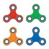 Spinner for rotating fingers. Trendy toy for fun spinner for rotating fingers. Vector set of colorful icons Stock Images
