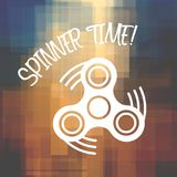 Spinner Time with finger spinner silhouette over geometric background. For posters, banners, design backgrounds etc Stock Photos